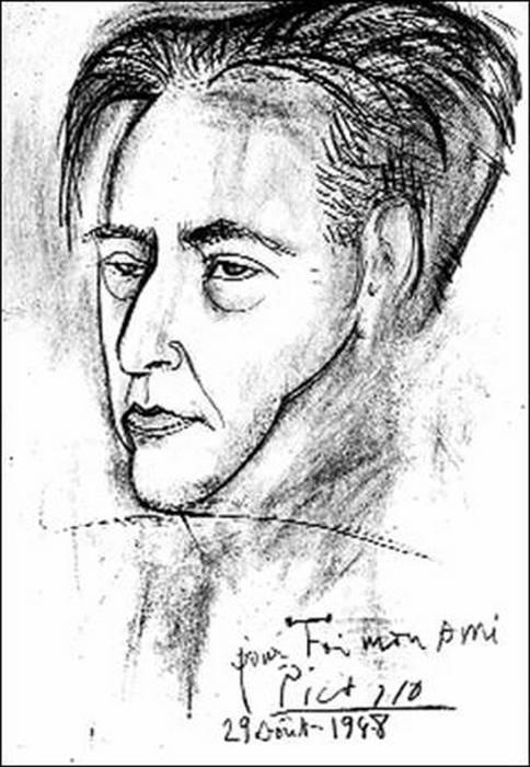 Пабло Пикассо портрет И. Эренбурга, 1948 год