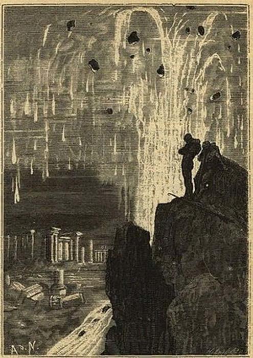 Профессор Аронакс и капитан Немо среди развалин Атлантиды (иллюстрация к роману Жюля Верна «Двадцать тысяч лье под водой»)