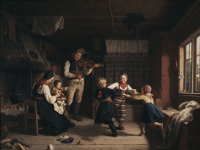 Амалия Линдегрен. Воскресный вечер в сельском доме, 1860