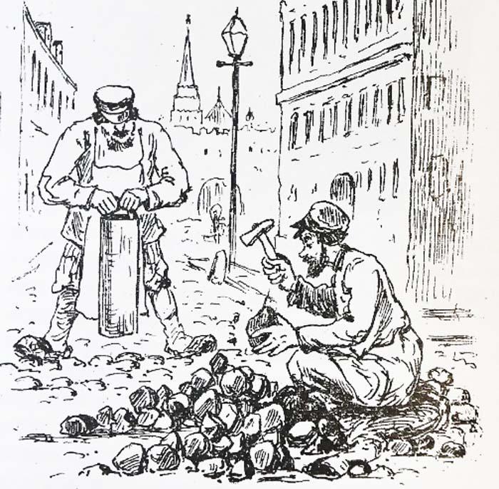 Так в XIX веке в прессе изображали ежегодный летний ремонт столичных мостовых (Журнал «Развлечение, 1884 год»)