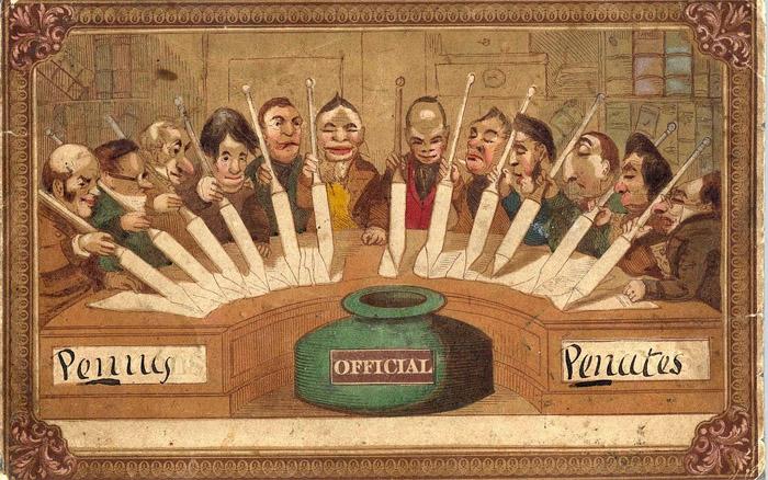 Теодор Хук, «Грошовые пенаты» - самая старая в мире почтовая открытка, 1840 год