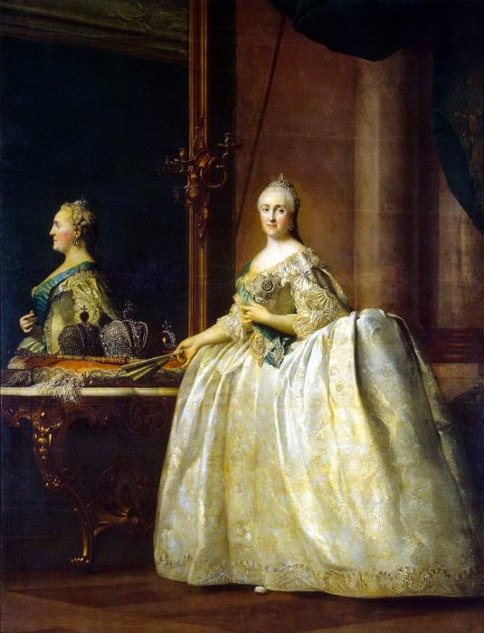 Виргилиус Ðриксен, Портрет Екатерины II перед зеркалом, ок. 1764 г.