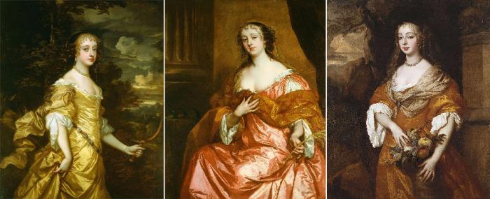 «Виндзорские красавицы»: Фрэнсис Стюарт, герцогиня Ричмонд; Елизавета Гамильтон, графиня де Грамон; Джейн Нидэм, миссис Миддлтон