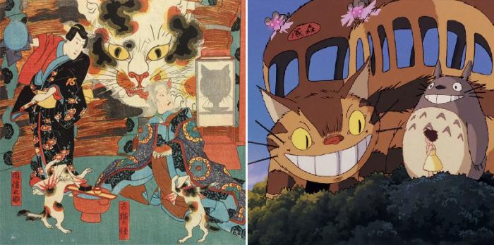 Бакэнэко японской мифологии и кот-автобус, придуманный Миядзаки