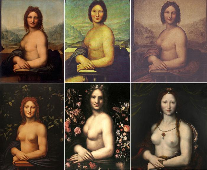 Наиболее известные обнаженные версии «Джоконды», принадлежащие кисти его учеников и неизвестных художников XVI века