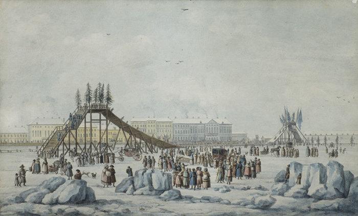 М.-Ф. Дамам-Демартре (1763-1827), Катание с гор на Неве