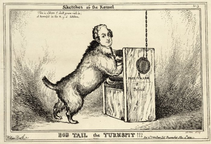 Карикатура на сэра Роберта Пила  - создателя муниципальной полиции Лондона в образе собаки-вертельщика (на подставке написано «свободная торговля — полиция»). От его имени английских полицейских прозвали «бобби». «Bob tail the turnspit!!!» (1829 г.)