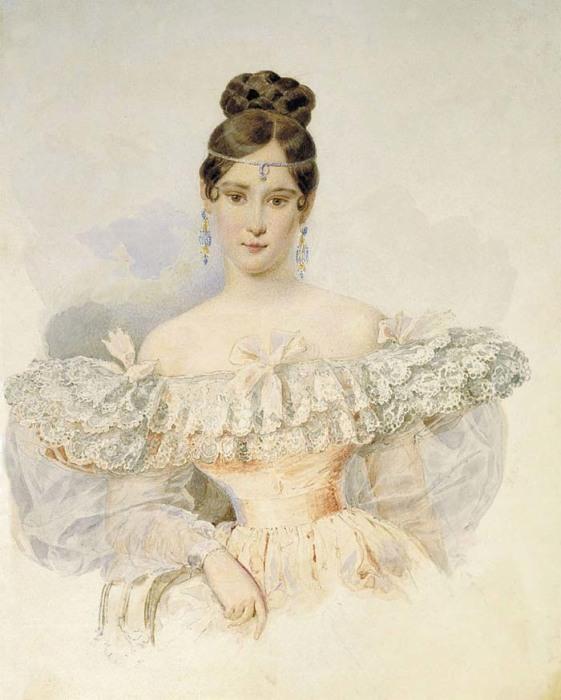 А. П. Брюллов, Портрет Н. Н. Пушкиной, Акварель, 1831—1832