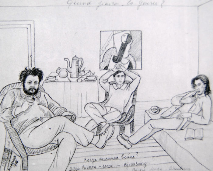 «Когда закончится война?»  Рисунок Маревны, 1916, Париж. Слева направо изображены Ривера, Модильяни и Эренбург.