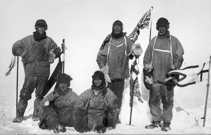 Команда Скотта на Южном полюсе 18 января 1912 года