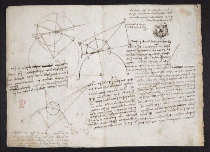 Страница из Кодекса Арундела Леонардо да Винчи на сайте Британской библиотеки