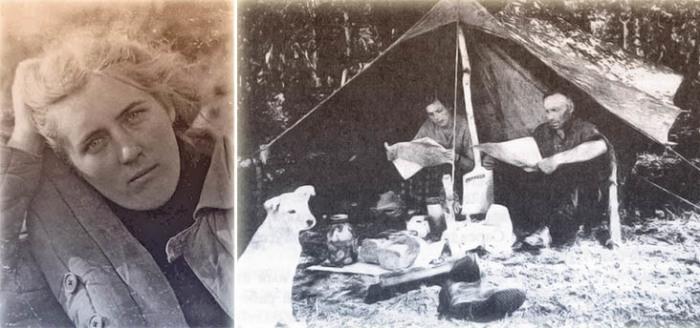 Лариса Анатольевна Попугаева с лаборантом Ф. А. Беликовым. Полевой сезон 1954 г.