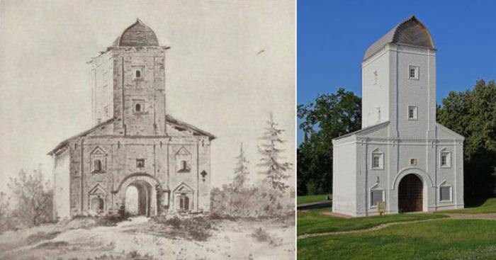 Соколиная башня в Коломенском на гравюре и в наши дни