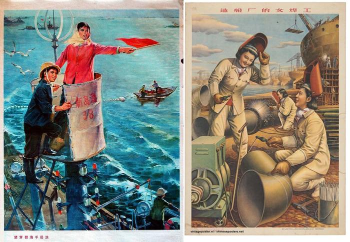 Девушки Китая на плакатах соцпериода часто осваивали неженские профессии