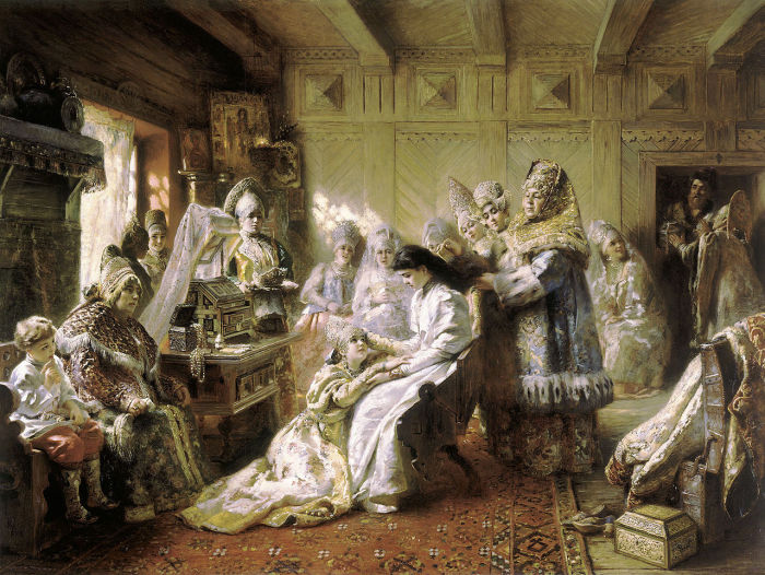 «Перед венцом», 1884 год. Еще одна известная картина Константина Маковского, Ñранящаяся за рубежом. Она является одной из Ð³Ð»Ð°Ð²Ð½Ñ‹Ñ Ð¶ÐµÐ¼Ñ‡ÑƒÐ¶Ð¸Ð½ музея «Калифорнийский дворец Почетного легиона» в Сан Франциско.