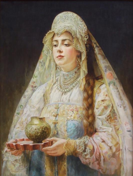 К. Маковский, Девушка в русском костюме