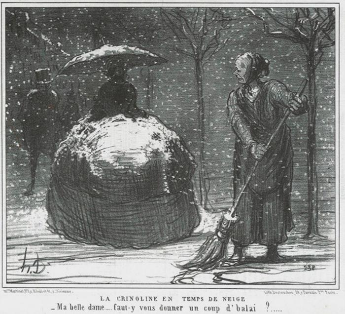 Кринолин зимой. Карикатура Оноре Домье. 1858 год: - Госпожа, если угодно, я с вас снег смету?