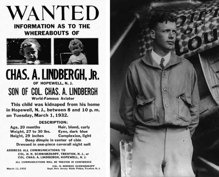 Плакат с объявлением о пропавшем сыне Линдберга и сам знаменитый летчик