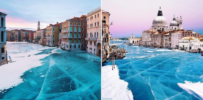 Фотоколлажи Роберта Янса с кристально-чистым льдом Венеции многие приняли за чистую монету