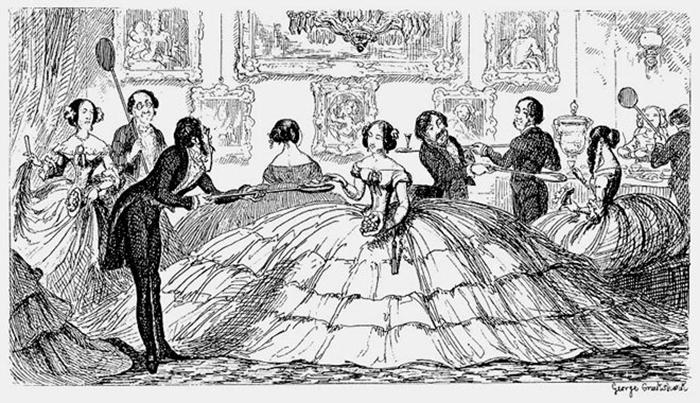 Кринолин. Карикатура Джорджа Крукшанка. 1850 год