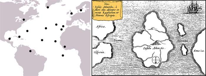 Места в Атлантическом океане, куда различные исследователи помещали Атлантиду и Карта Атлантиды Афанасия Кирхера, 1669 год