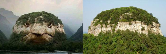 «Черепашья гора» - фотоподделка и оригинал – природный объект в Северной Каролине