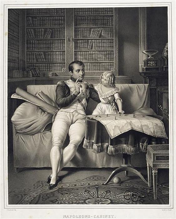 Йоган Лейболд. Наполеон с сыном играют в солдатиков, расставленных на карте в кабинете императора во дворце Тюильри.
