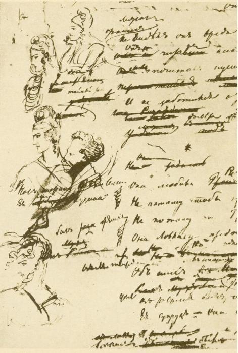 Страница рукописи «Евгения Онегина». Портрет Собаньской внизу страницы.
