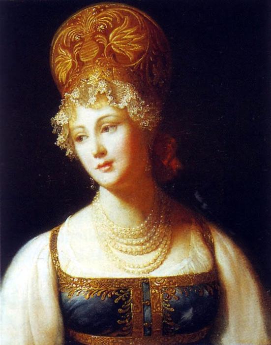 П. Барбье, Портрет молодой женщины в русском сарафане, 1817