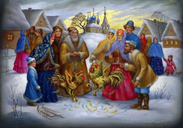 Федоскинская миниатюра «Петушиный бой»