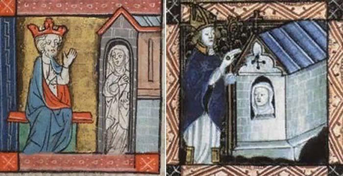 Фрагменты средневековых миниатюр: «Король советуется с отшельницей» и «Огораживание отшельницы»
