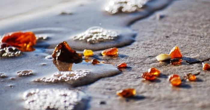 Янтарь добывается в карьерах или выносится на берег волнами