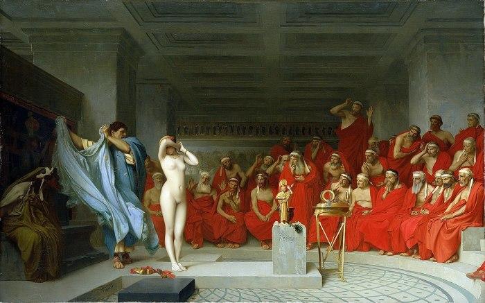 «Фрина перед ареопагом», Жан-Леон Жером, 1861 (скорее всего, гетера предстала перед  гелиэей — афинским судом присяжных, но художник в названии картины использовал более звучное слово)