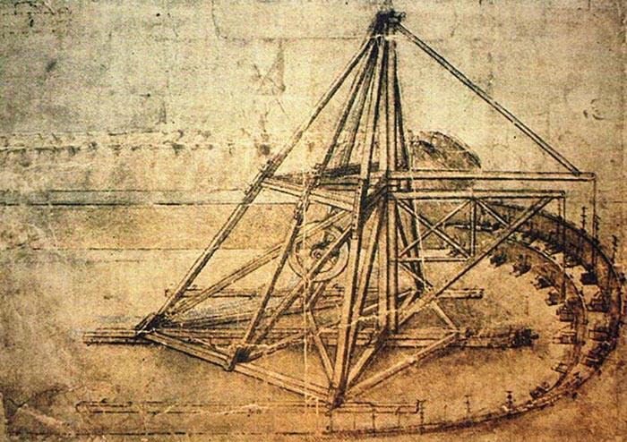 Экскаватор Леонардо - машина для подъема и транспортировки вырытого материала Экскаватор устанавливался на рельсы и, по мере продвижения работ, передвигался вперед.