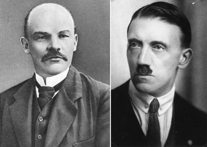 Владимир Ульянов в 1910 и Адольф Гитлер в 1920-е годы