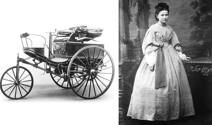 Берта Бенц и автомобиль, на котором она совершила путешествие