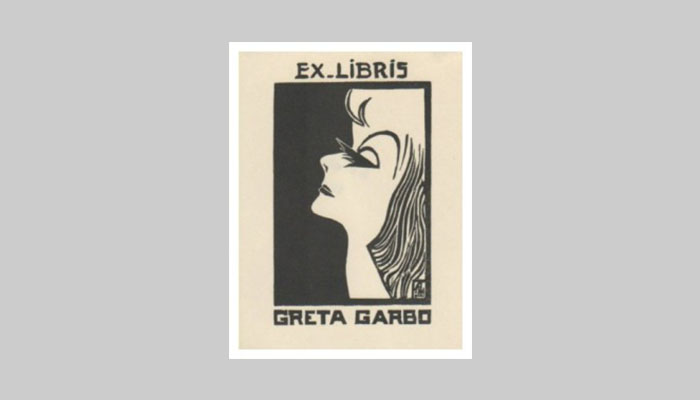 Портрет Греты Гарбо на ее личном экслибрисе