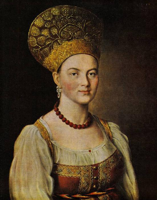 И. Аргунов, Портрет неизвестной в русском костюме, 1785
