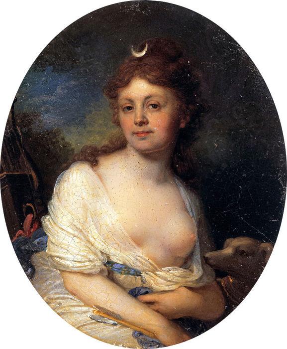 В. Боровиковский, портрет на цинке, Елизавета Тёмкина в виде Дианы, 1798 год