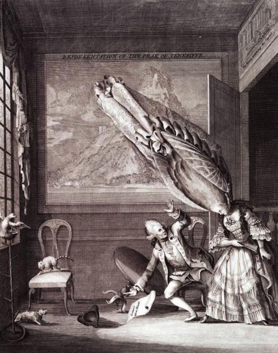 Французская дама в Лондоне. Карикатура Сэмюэля Иеронимуса Гримма. 1771 год