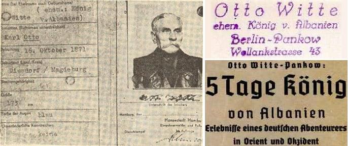 Немецкие документы «бывшего короля Албании» и его визитки