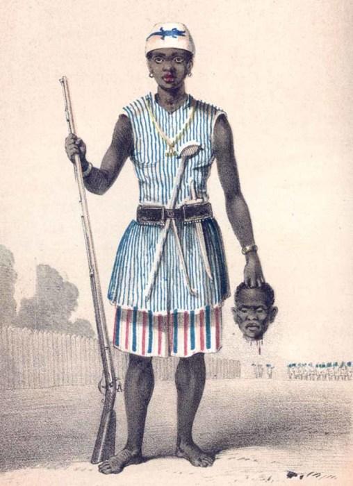 Предводительница дагомейских амазонок Се-Донг-Хонг-Бе. Рисунок 1851 года