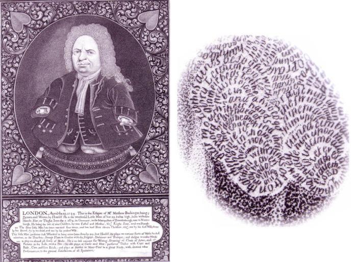 Автопортрет Маттиаса Бухингера и увеличенная надпись, вложенная в гравюру