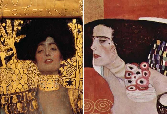Густав Климт, фрагменты полотен «Юдифь I» и «Юдифь II»