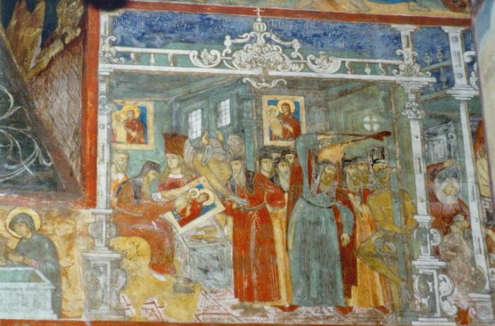 Алимпий Печерский, пишущий образ Богоматери и искушаемый дьяволом (фреска Рождественского собора в Ярославле)
