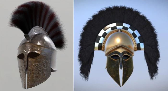 Современная реконструкция шлема спартанского гоплита и Коринфскиого шлема с поперечным гребнем