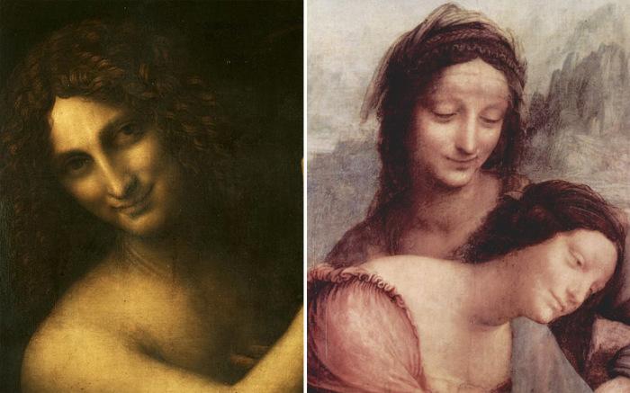 Фрагменты картин Леонардо да Винчи с подобными загадочными улыбками («Иоанн Креститель» и «Святая Анна с Мадонной и младенцем Христом»)