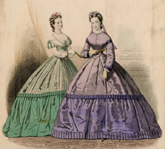 "Модная гравюра из журнала ""Petit Courrier des Dames"", 1863"