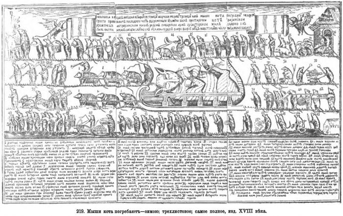 Мыши кота погребают, Россия, Лубок XVIII век