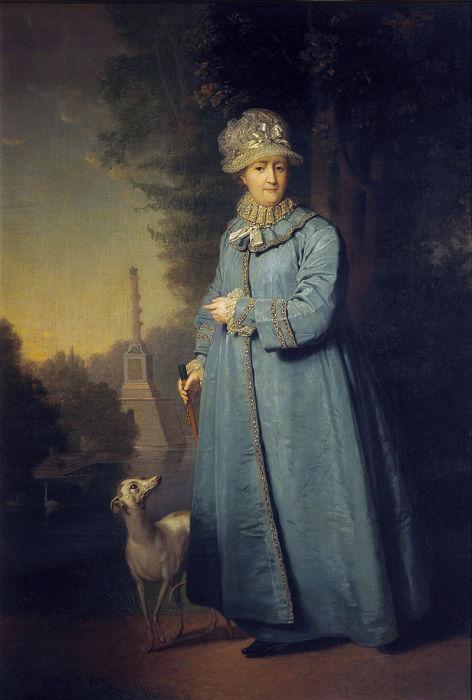 Екатерина II на прогулке в Царскосельском парке. Картина художника Владимира Боровиковского, 1794 год (императрице 65 лет)